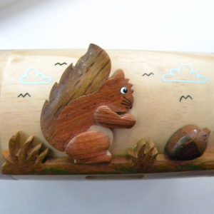 Handcrafted Wooden Red Squirrel Money Box / Treasure Chest