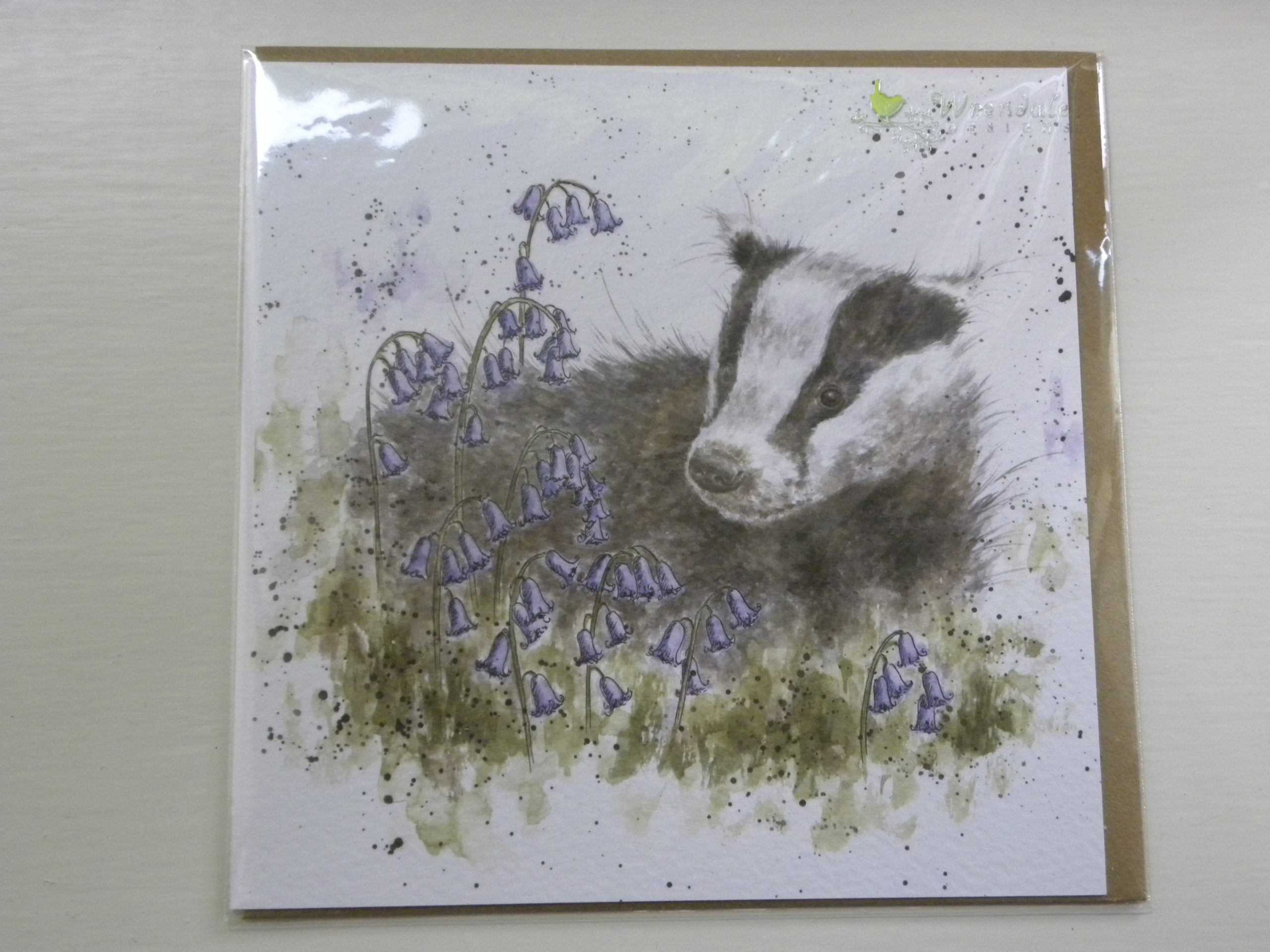 Wrendale Designs - The Bluebell Wood - Badger - Greeting Card