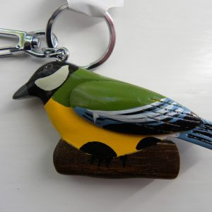 Handcrafted Wooden Great Tit Keyring