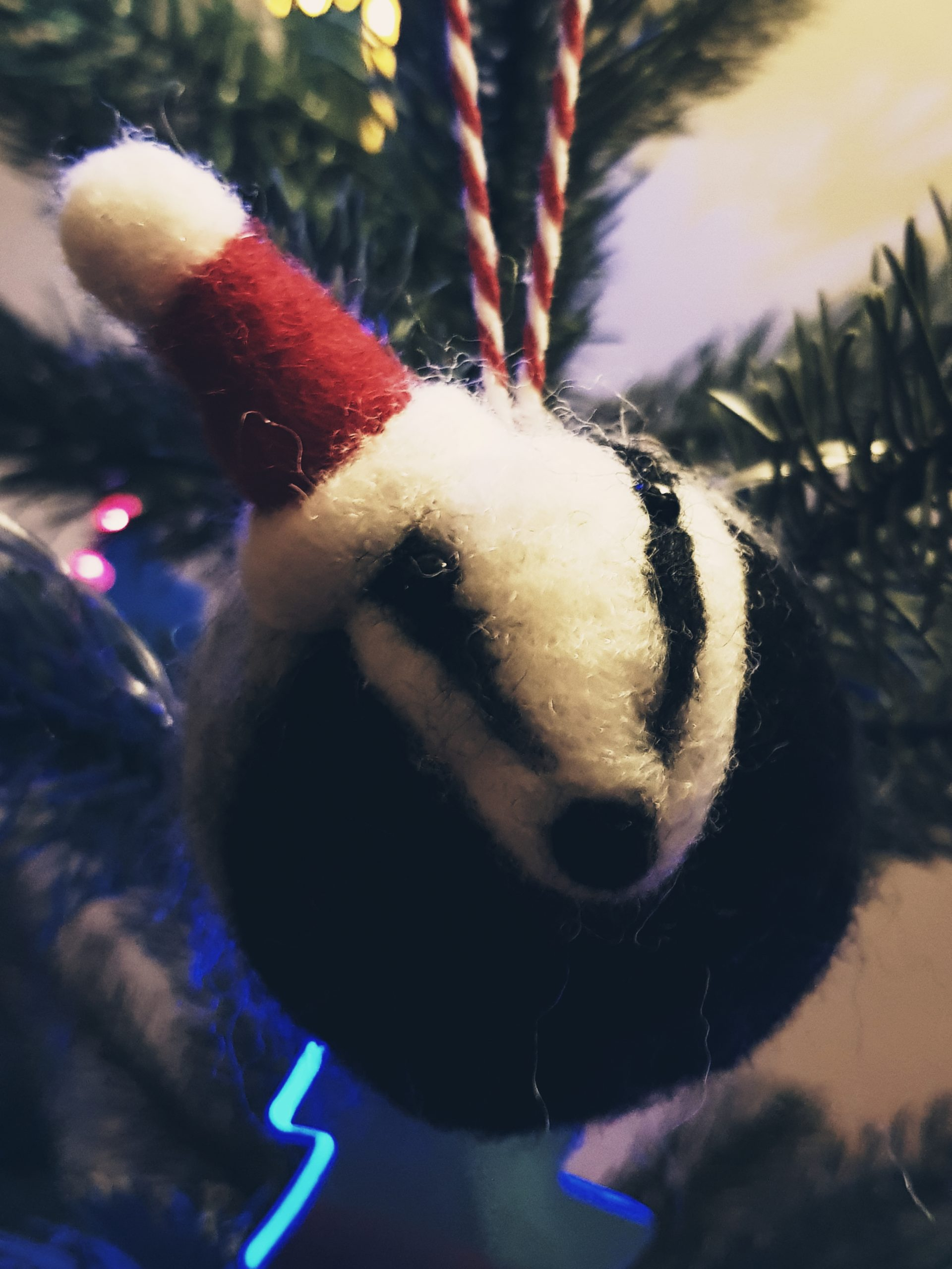 Christmas Hand Felted Badger Bauble