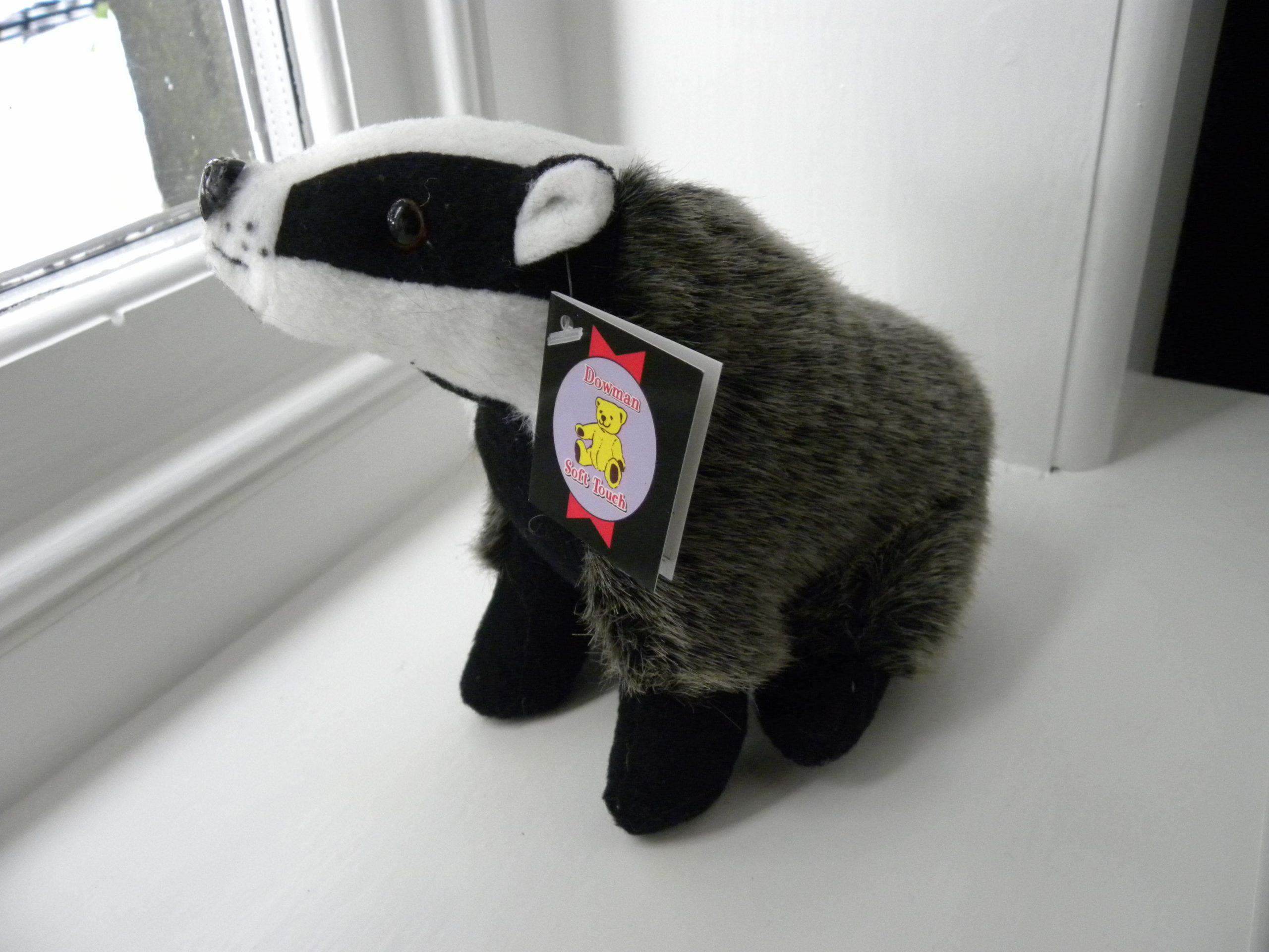 Medium Plush Sitting Badger Toy Teddy - 23cm