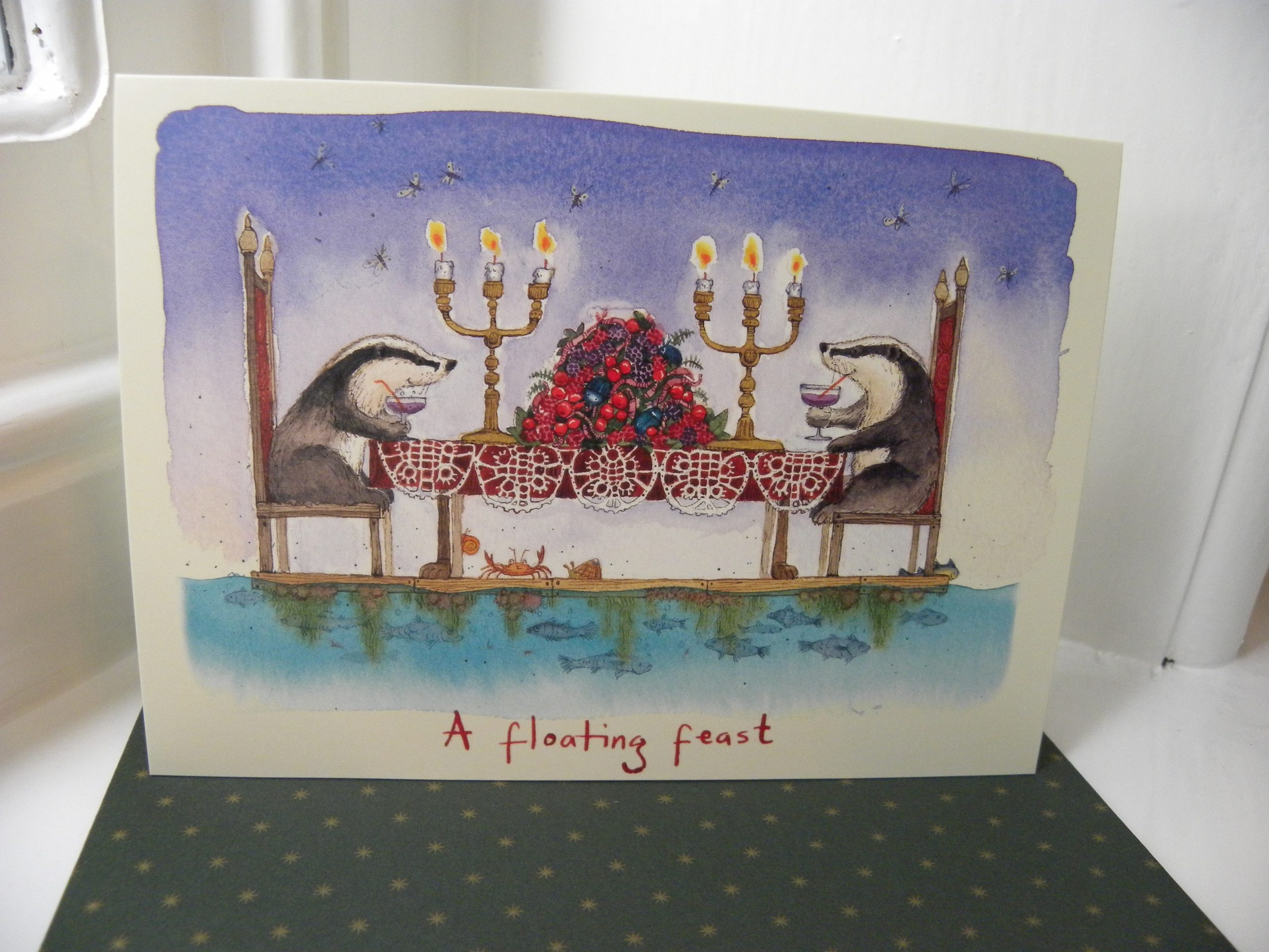 Badger Christmas Card - A Floating Feast