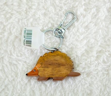 Handcrafted Wooden Hedgehog Keyring