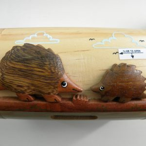 Handcrafted Wooden Hedgehog Money Box / Treasure Chest