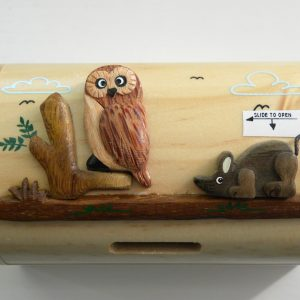 Handcrafted Wooden Tawny Owl Money Box / Treasure Chest
