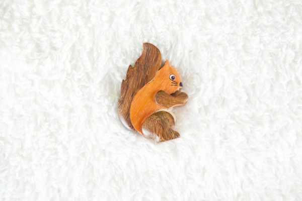 Handcrafted Wooden Red Squirrel Magnet